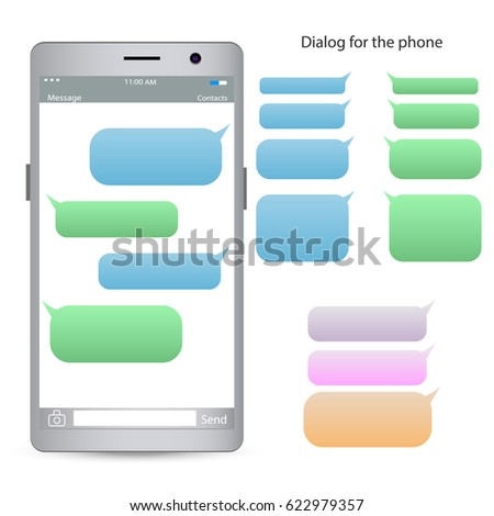 Phone Chatting Template Place Your Own Stock Vector