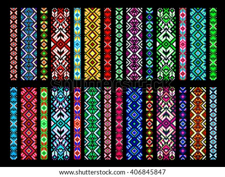 Textile ribbons, braids in the boho style with Scandinavian patterns, bead embroidery, embroidered belt. Trendy, contemporary ethnic seamless pattern, embroidery cross, squares, diamonds, chevrons.