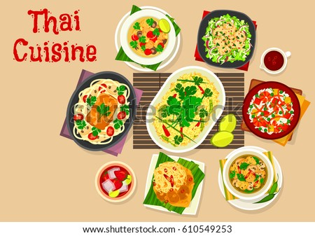 Thai Cuisine Dinner Dishes Icon Of Rice With Egg Fried Shrimp Rice Squid Vegetable