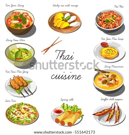 Thai cuisine set collection food dishes stock vector for Art of indian cuisine