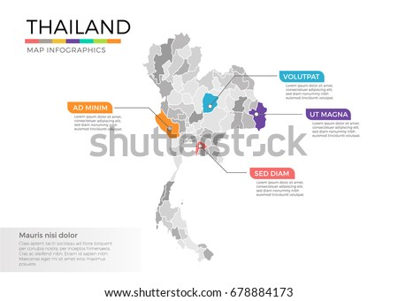 Thailand Map Infographics Vector Template Regions Stock Vector - Thailand regions map