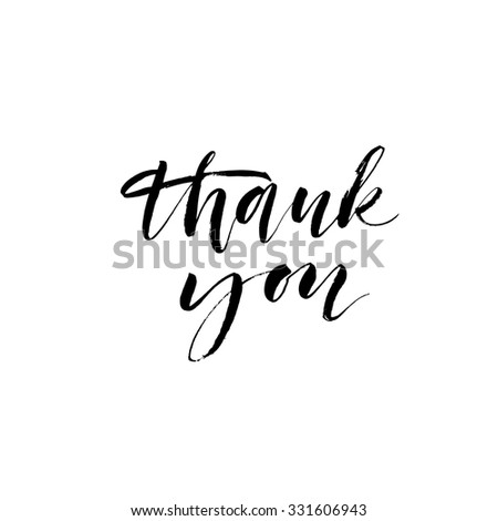 Thank You Card Hand Drawn Lettering Stock Vector 340178180
