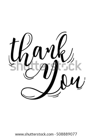Thank you quote with handwriting in black and white,vector.