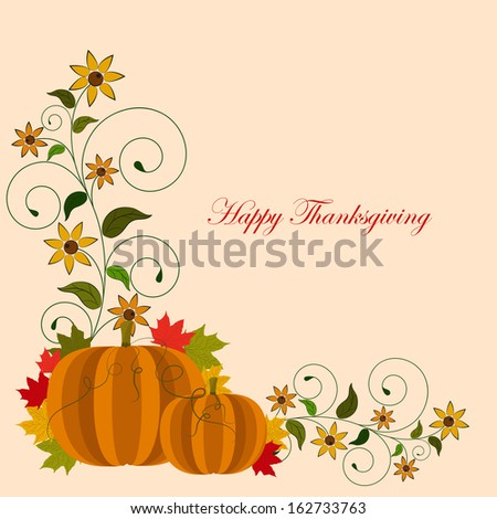 thanksgiving background card with pumpkin and autumn leaves.Eps10