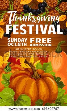 Fall Festival Poster Autumn Harvest Frame Stock Vector