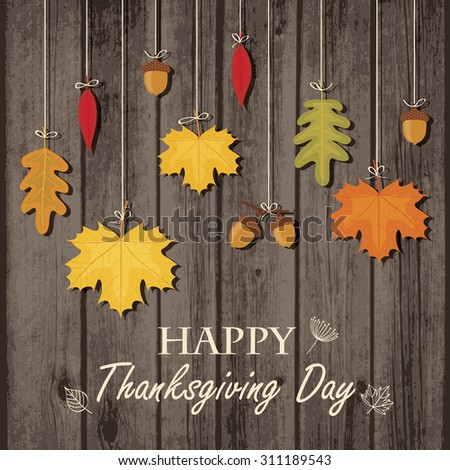 Thanksgiving greeting card with autumn leaves