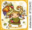 Thanksgiving holiday theme 6: Happy cute girl wearing Cornucopia hat full of colorful fruits and vegetables, celebrating harvest festival. - stock vector