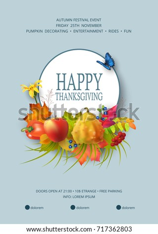 Thanksgiving invitation card autumn festival flyer stock vector autumn festival flyer or poster template usable for any kind of pronofoot35fo Gallery