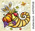 Thanksgiving theme: Harvest cornucopia - stock photo