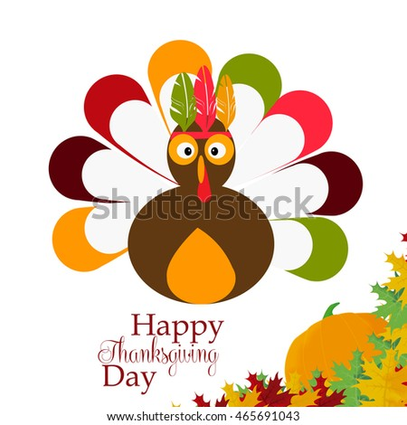 Thanksgiving turkey crown with pen on white background decorated with pumpkin and maple leaves