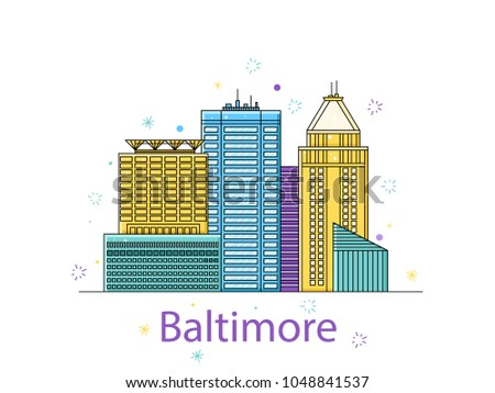 City sticker in lines vector in the outline
