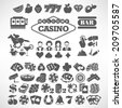 The biggest set of flat casino or gambling icons - stock