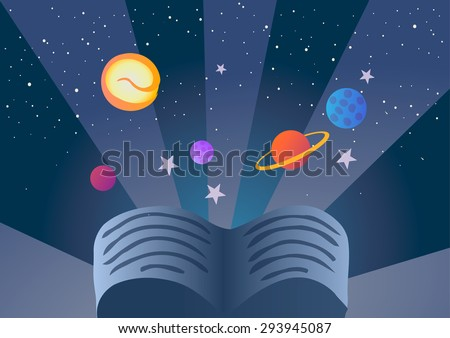 The book, the planets and stars on a blue background
