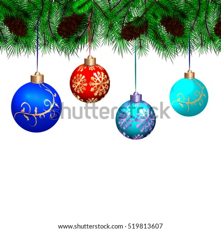 The branch of a Christmas tree with cones and Christmas tree decorations, isolated on white background