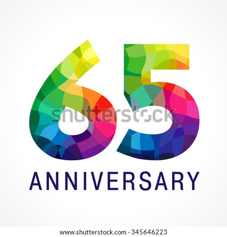Bright Faceted Logotype 85th Birthday 85 Stock Vector Happy Anniversary Clip Art 65th Wedding Color