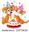 The cat and dog celebrate birthday. Vector illustration - stock vector