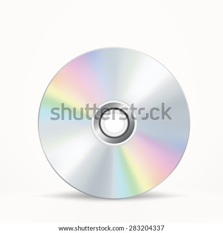 The CD-DVD disc on the white background