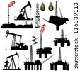 The contours of the oil industry facilities. Illustration on the production and sale of natural resources. Illustration on white background. - stock photo