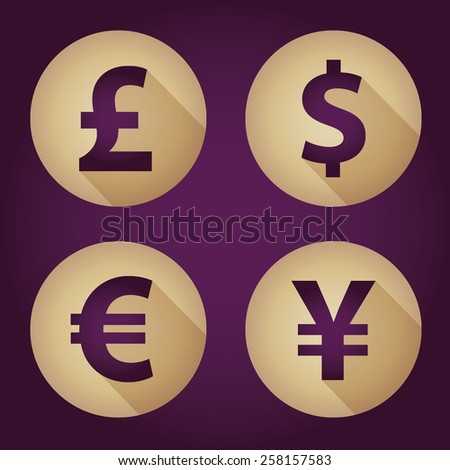 The currency signs of Dollar, Euro, Pound and Yen. Gold Badge, Label or Sticker on the purple background.