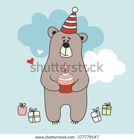 The cute little bear with cupcake and gift. Vector illustration greeting card.
