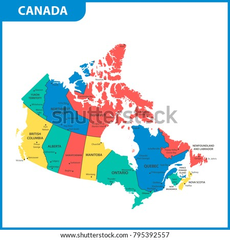 Colorful Canada Map Provinces Capital Cities Stock Vector 36403279
