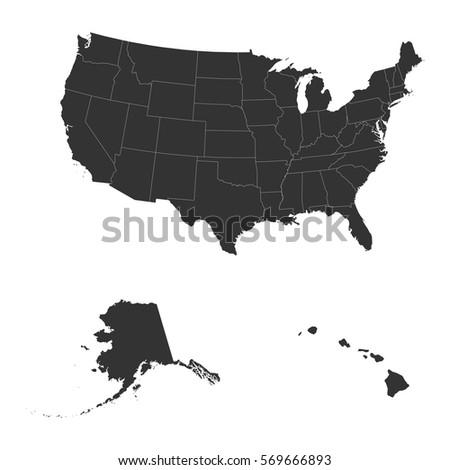 Silhouette Usa Map United States America Stock Illustration - Us map white silhouette