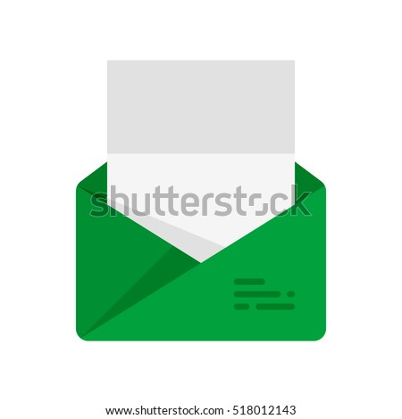 The envelope with the letter. Vector icon. Green
