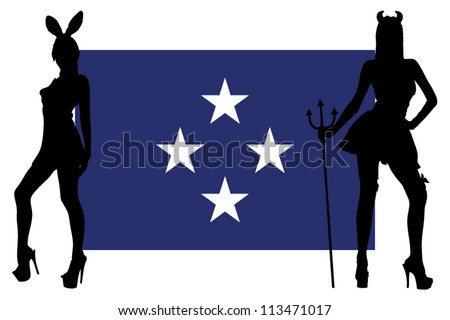 The Federal Sates of Micronesia flag with silhouettes of women in sexy costumes