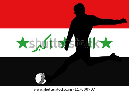 The flag of Iraq with a football player
