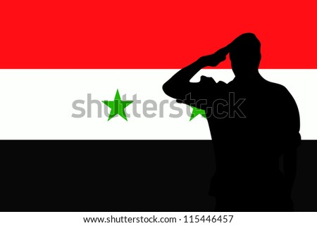 The flag of Syria and the silhouette of a soldier saluting