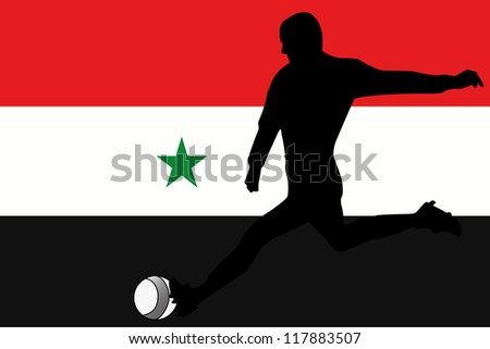 The flag of Syria with a football player