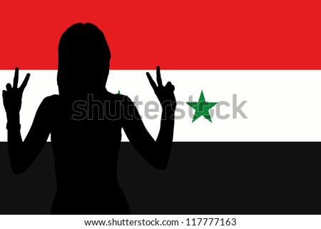 The flag of Syria with the silhouette of a woman with peace signs
