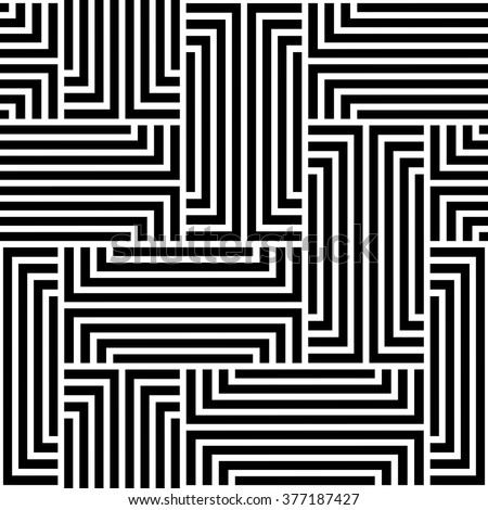 The geometric pattern by stripes . Seamless background. Black and white texture.