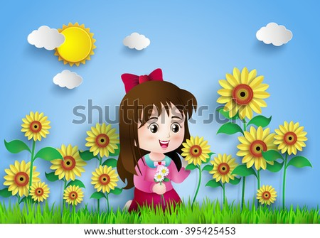 the girl in the  sun flower field.paper art style.