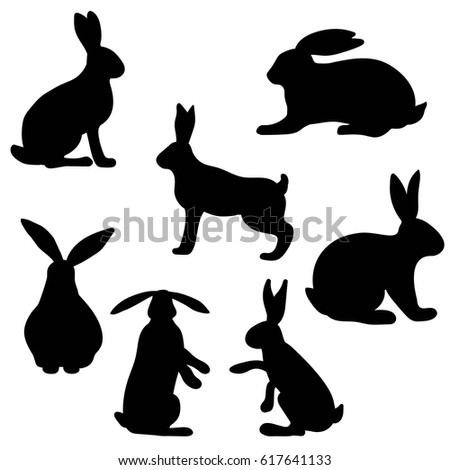 variety silhouettes rabbit stock vector 130690508