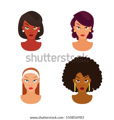 The human race. Women face against a white background. Women avatars vector illustration