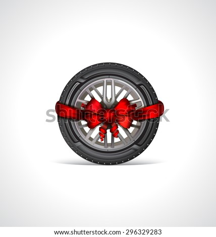 The icon of car tire  with a red bow