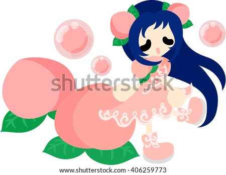 The illustration of the girl in the peach dress