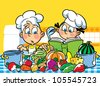 The illustration shows a boy and a girl. They cook in the kitchen. - stock photo
