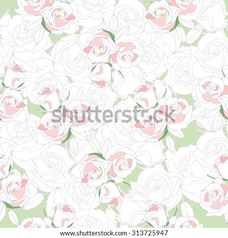 Watercolor hydrangea pattern vintage pink flowers shabby chic - Wallpaper Seamless Vintage Pink Flower Pattern Stock