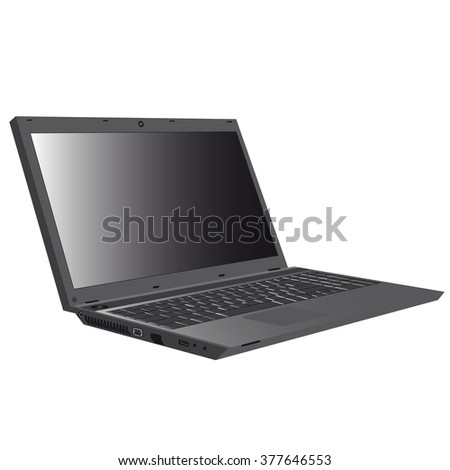 the image of a personal laptop computer in an open state of dark color