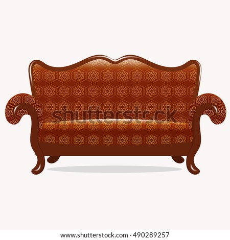 The interior of the living room. Sofa isolated on white background. Vector illustration