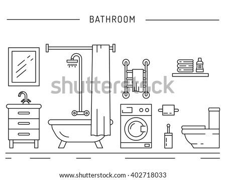 Isometric interior bathroom stock illustration 425154133 for Bathroom interior design drawing