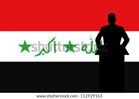 The Iraq Flag with a Silhouette of a man giving a speech