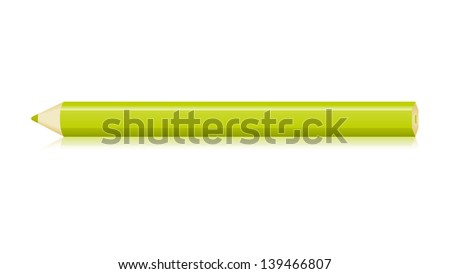 The isolated horizontal green pencil graphic element / The green pencil