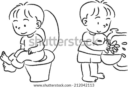 toilet drawing. The little boy on the toilet and wash hand Little Boy On Toilet Wash Hand Stock Vector 212042107  Shutterstock