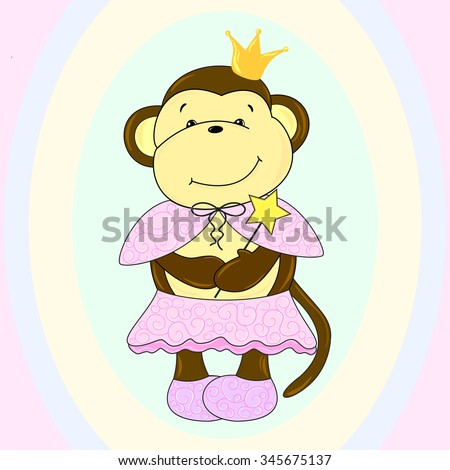 The main symbol of this vector illustration is monkey. It's dressed in pink princess costume. Image belongs to theme of New Year Day, winter holidays . It  can be used as wallpaper, greeting card,
