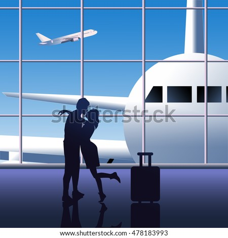 The meeting of lovers at the airport vector color illustration