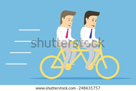 The metaphor of cooperation and partnership. Two characters together businessman pedaling a bicycle tandem.