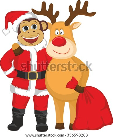 The monkey in the Santa suit and reindeer
